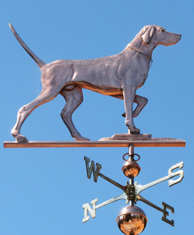 click image to enlarge detailed swellbodied elhew pointer weathervane copper with glass eyes - Weather Vanes