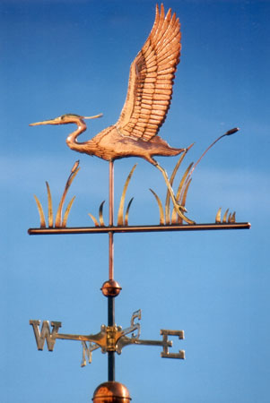 Great blue heron flying weathervane optional gold leafing
