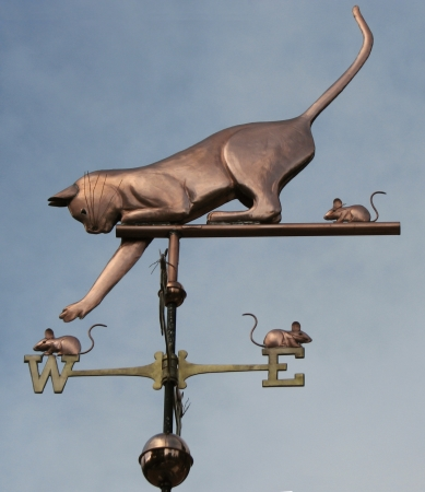 Weathervanes >> Cat Playing with Mice Weathervane - Personalization Available