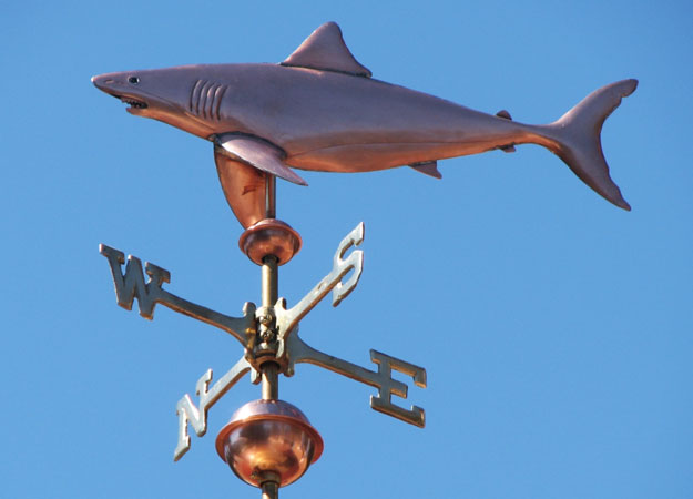 Weathervanes >> Great White Shark Weathervane - Straight Body