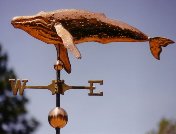 Weathervanes >> Copper Whale Weathervane Humpback Whale Straight Body