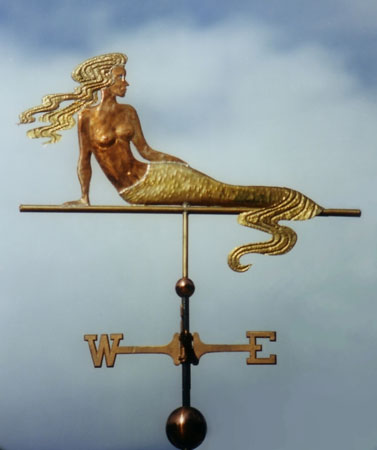 Mermaid With Wavy Tail Weathervane Optional Gold Detail