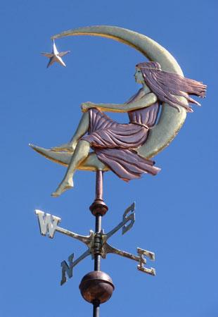 Weathervanes >> Moon Goddess Sitting Weathervane - Optional Gold Leaf