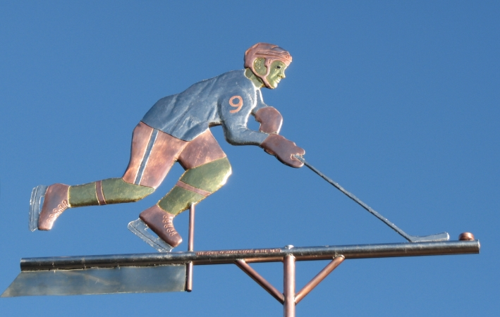 Hockey Player Weathervane Personalization Available