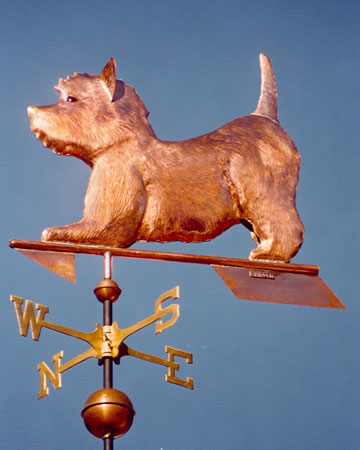 Dog Weathervane - West Highland Terrier Play Bow - Copper
